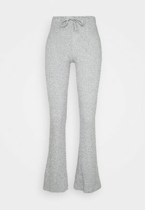 TIE RIBBED FLARE TROUSERS - Pantalones - grey