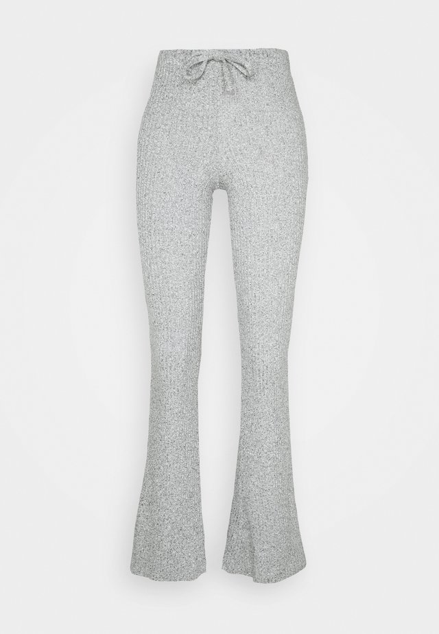 TIE RIBBED FLARE TROUSERS - Pantaloni - grey