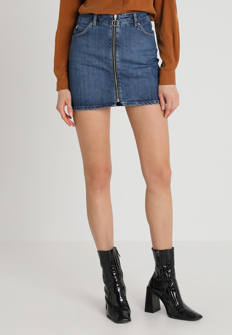 Topshop - ZIP THRU - Jeansrock - blue denim