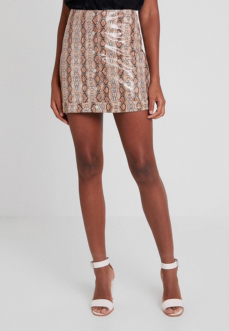 Topshop - SNAKE DIXIE - Mini skirt - yellow