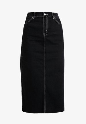 SPLIT SIDE MIDI SKIRT - Denimová sukně - black denim