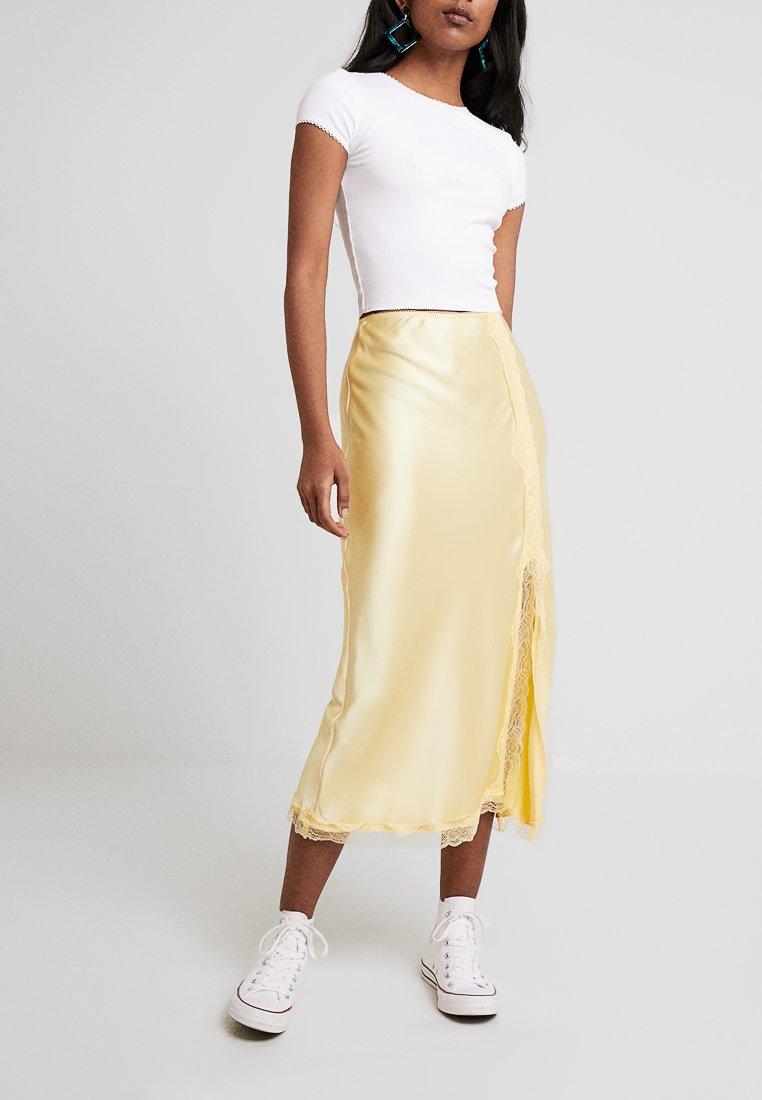 Topshop - TRIM BIAS - A-line skirt - lemon