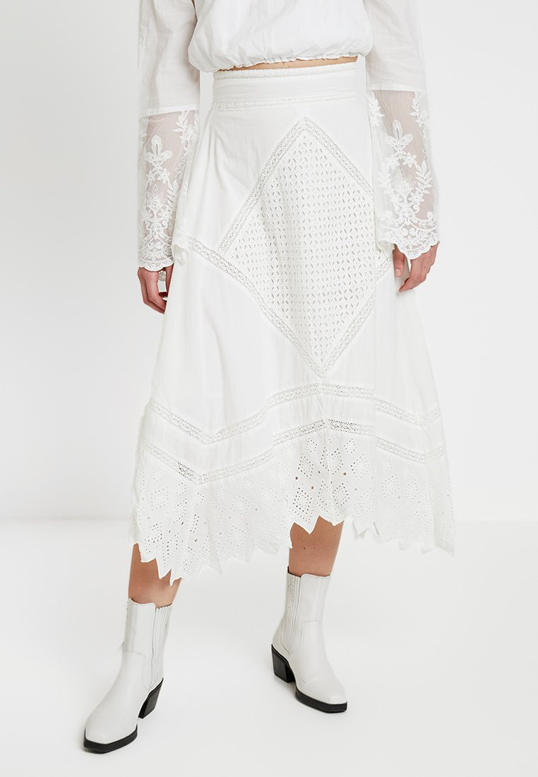 Topshop - MIXED BRODERIE - A-Linien-Rock - ivory