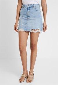 Topshop - RIP - A-line skirt - blue denim - 0