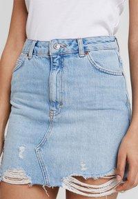 Topshop - RIP - A-line skirt - blue denim - 4