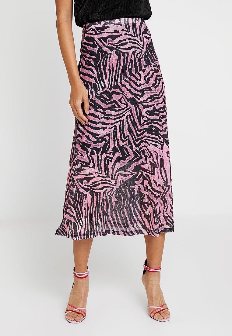 Topshop - ZEBRA MIDI - Pencil skirt - pink