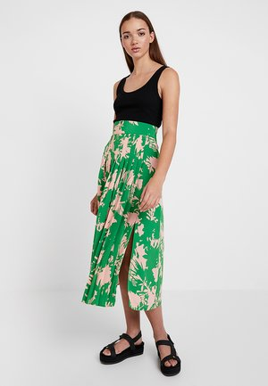 ABSTRACT FLORAL PLEAT - Pleated skirt - green