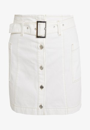BUTTON BELT SKIRT - A-linjainen hame - white