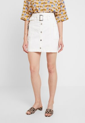 BUTTON BELT SKIRT - A-line skirt - white