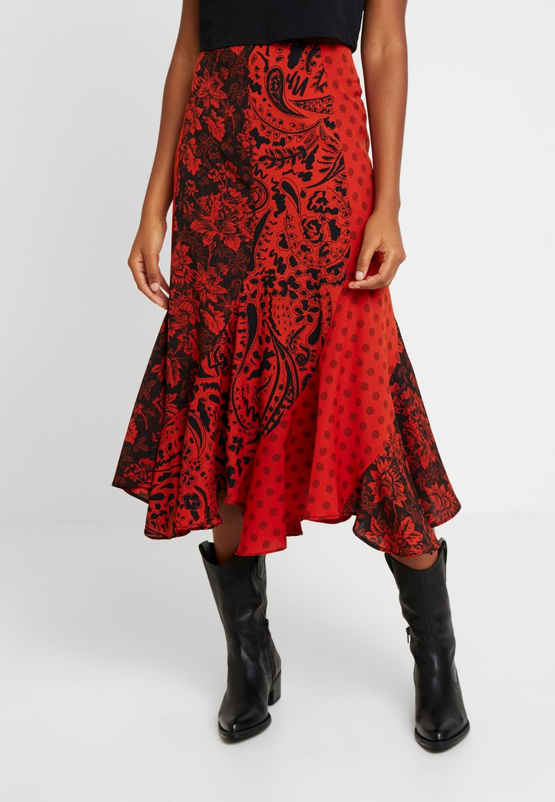 Topshop - PAISLEY MIXED PRINT MIDI - Maxinederdele - red