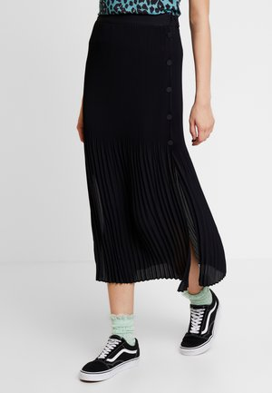 PLEAT SIDE MIDI - Gonna a pieghe - black