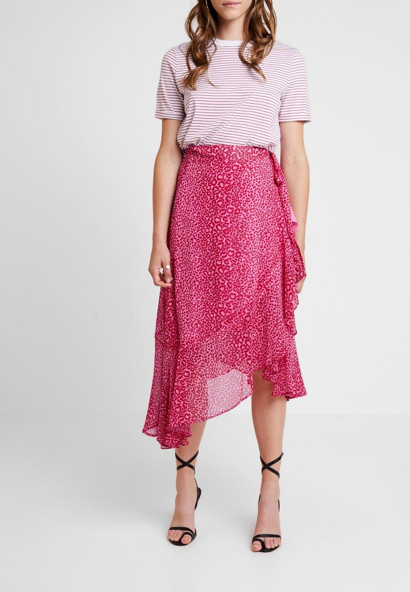 Topshop - ANIMAL WRAP - Wrap skirt - pink