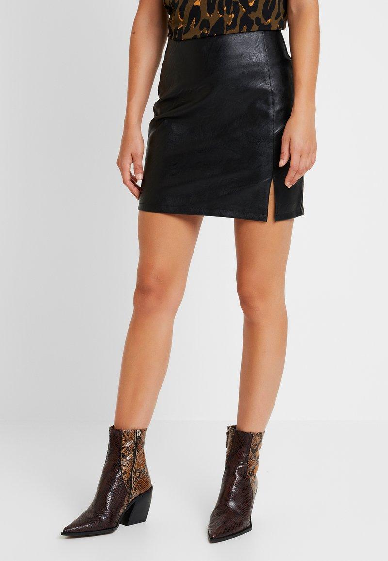 Topshop - SPLIT FRONT - Mini skirts  - black