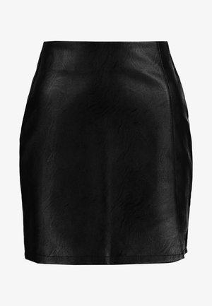 SPLIT FRONT - Mini skirt - black