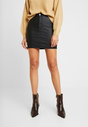 COATED JONI SKIRT - Minifalda - black