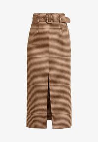 Topshop - CHECK BELTED MIDI - Kynähame - brown - 4