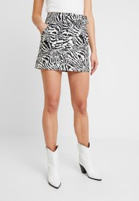 Topshop - MONO ANIMAL SELF BELT - Denim skirt - mono - 0