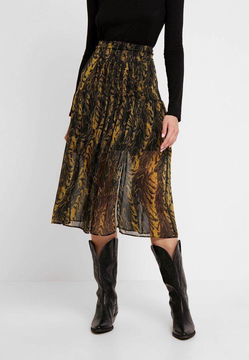 Topshop - WARPED ANIMAL - Plisovaná sukně - ochre