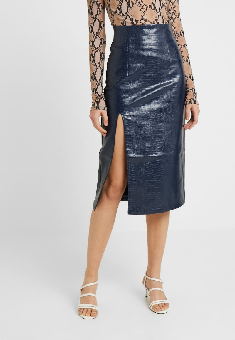 Topshop - CROC PENCIL - Gonna a tubino - navy