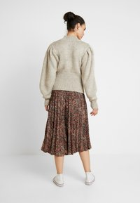 Topshop - TEXTURED ANIMAL PLEAT - A-line skirt - brown - 2
