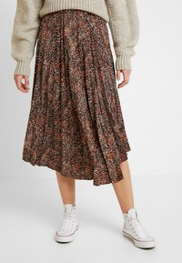 Topshop - TEXTURED ANIMAL PLEAT - A-line skirt - brown - 0