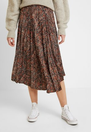 TEXTURED ANIMAL PLEAT - A-lijn rok - brown