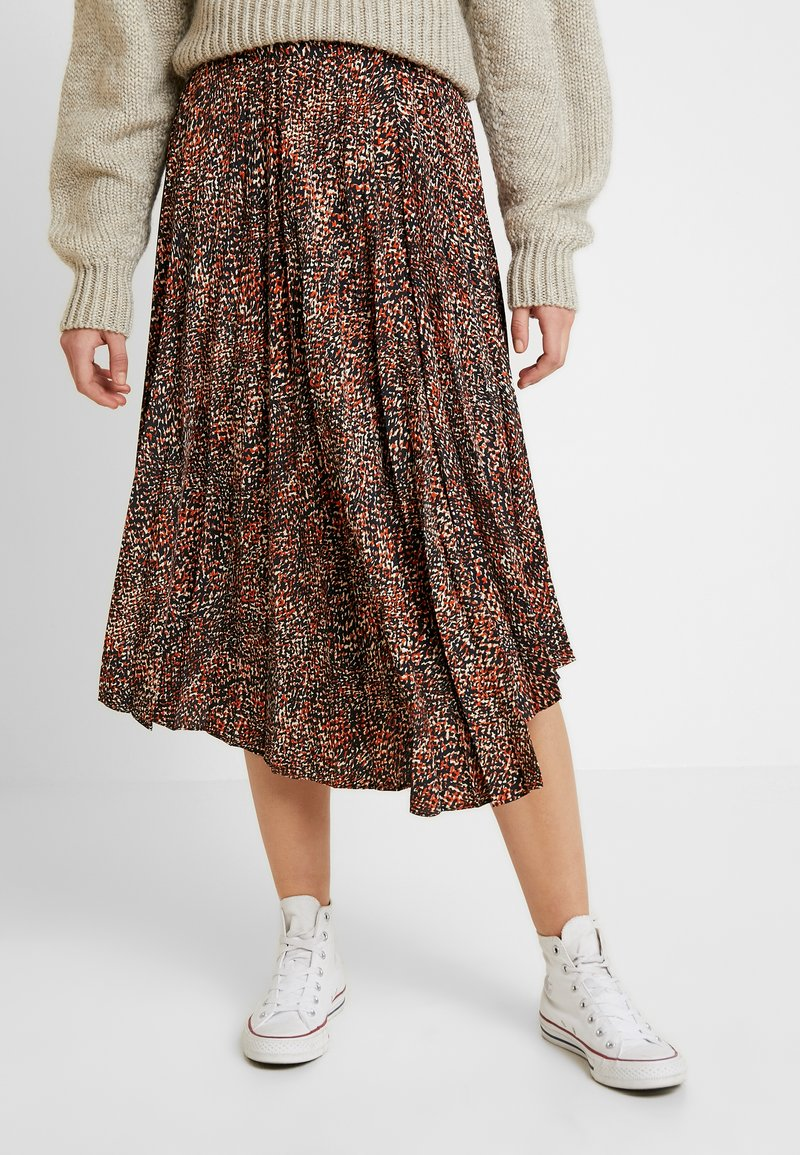 Topshop - TEXTURED ANIMAL PLEAT - A-line skirt - brown