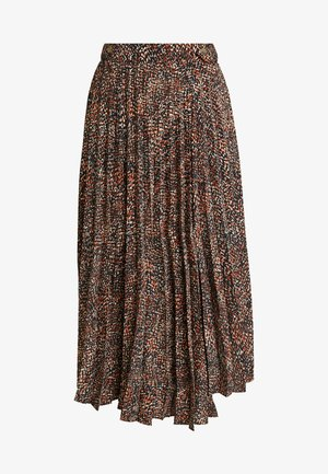 TEXTURED ANIMAL PLEAT - Falda acampanada - brown