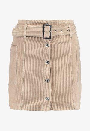 BUTTON BELT SKIRT - Mini skirt - ecru