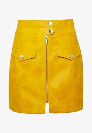 ZIP THRU  - Mini skirt - mustard