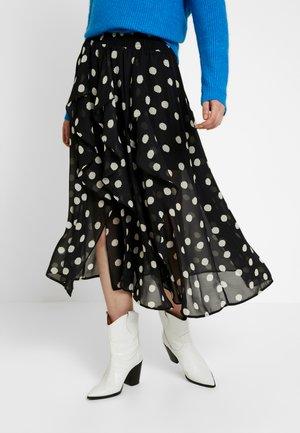 SPOT RUFFLE MIDI - A-line skirt - black
