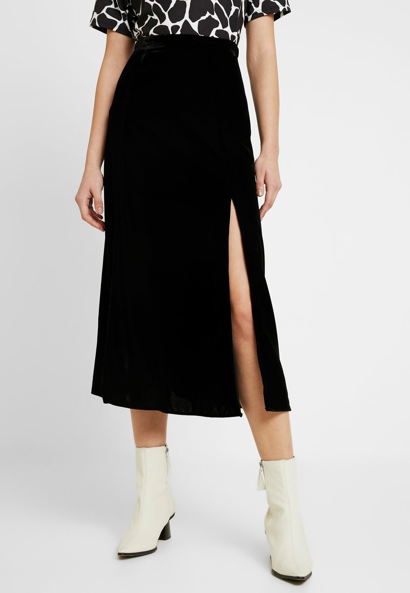 Topshop - SPLIT MIDI - A-line skirt - black