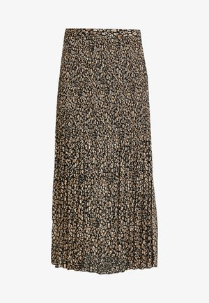 LEOPARD CRYSTAL PLEAT - Gonna a campana - brown