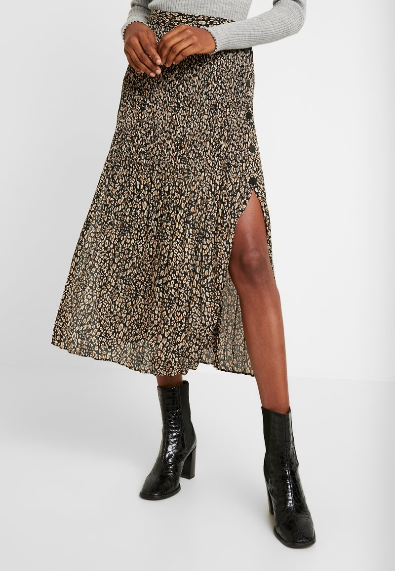 Topshop - LEOPARD CRYSTAL PLEAT - A-line skirt - brown