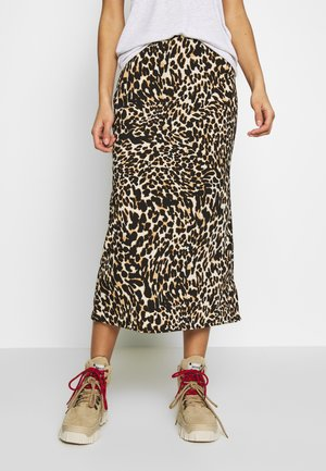 LEOPARD BIAS - Pencil skirt - brown