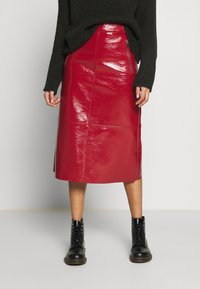 Topshop - SEAMED MIDI - A-line skirt - cherry - 0