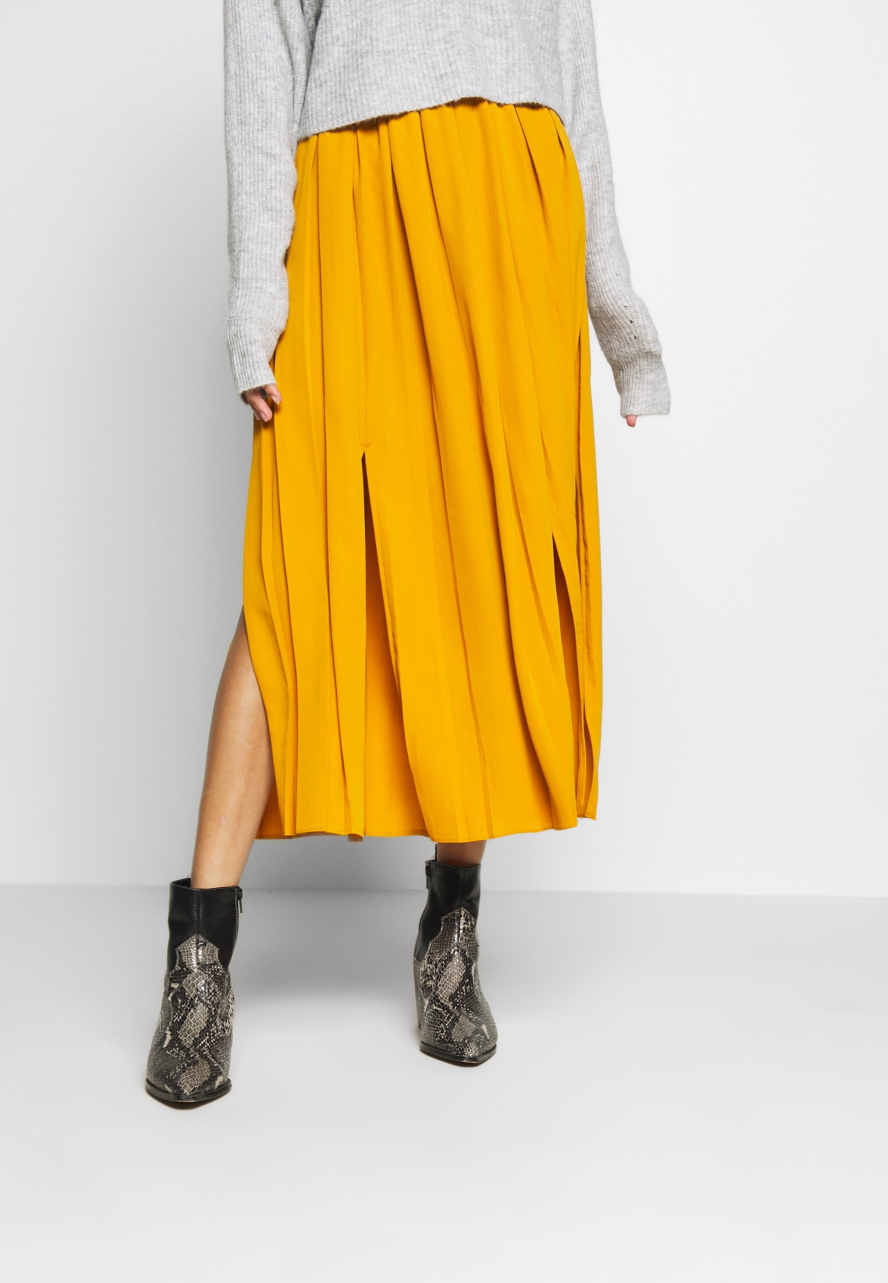 Topshop PULL ON PLEAT - Spódnica trapezowa - mustard