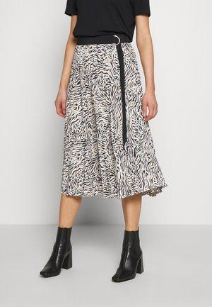 CONTRAST ZEBRA PLEAT - A-line skirt - mono