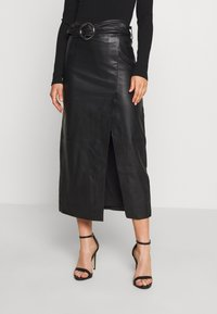 Topshop - LEAT WRAP PENCIL - Pencil skirt - black - 0