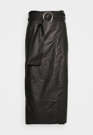 LEAT WRAP PENCIL - Blyantnederdel / pencil skirts - black
