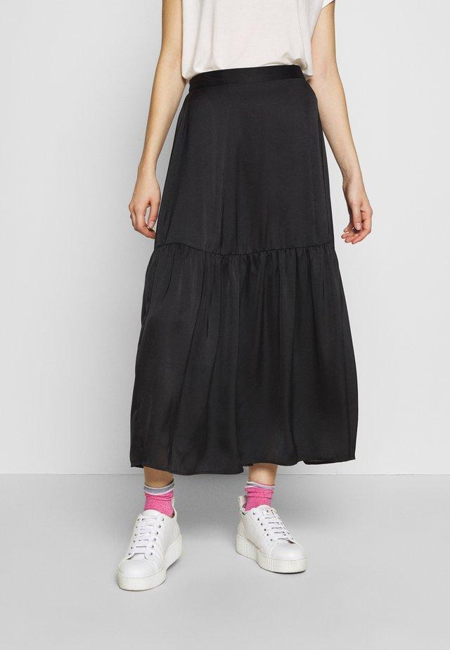 PLAIN TIERED - Maxi skirt - black