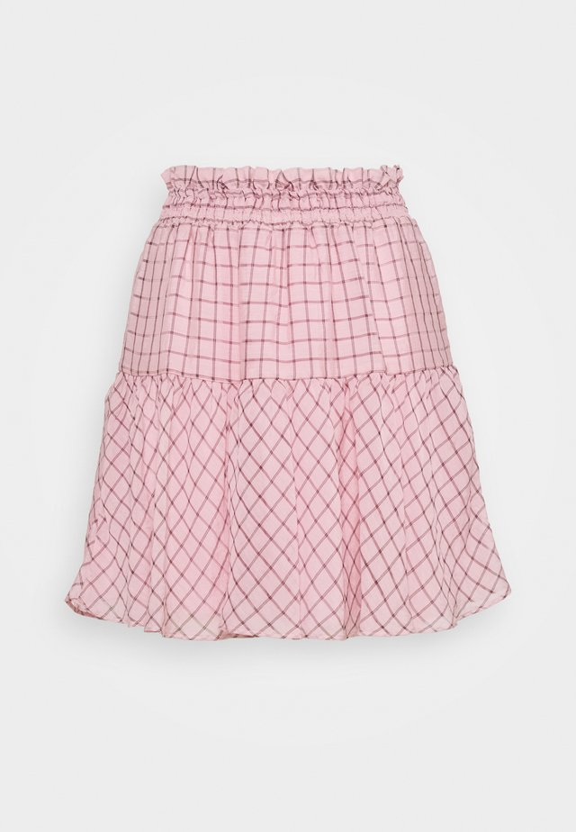 CHECK SHIRRED - A-Linien-Rock - pink