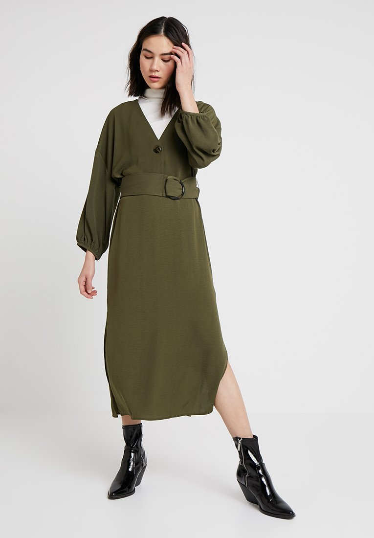 Topshop - HORN BUCKLE MIDI - Day dress - olive