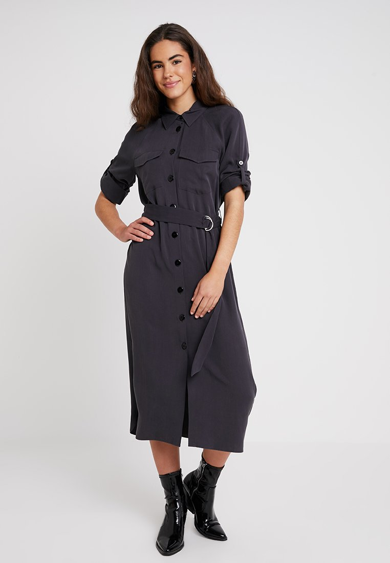 Topshop - UTILITY DRESS MIDI - Blusenkleid - washed black
