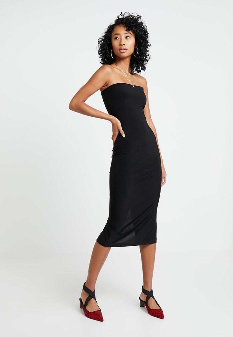 Topshop - SLINKY BOOBTUBE MIDI - Jersey dress - black