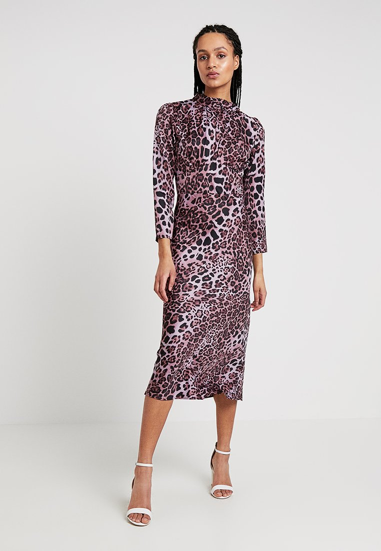 Topshop - LEOPARD BIAS BOW - Maxi dress - pink