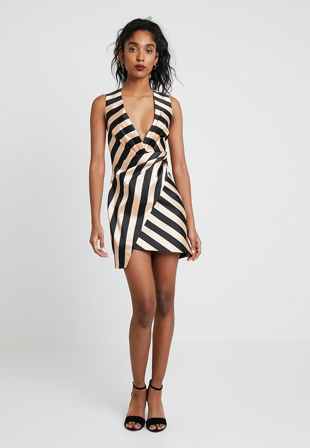 STRIPE WRAP STRUCTURED DRESS - Cocktailjurk - beige