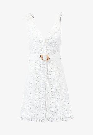 BRODERIE BUCKLE MINI - Denní šaty - white