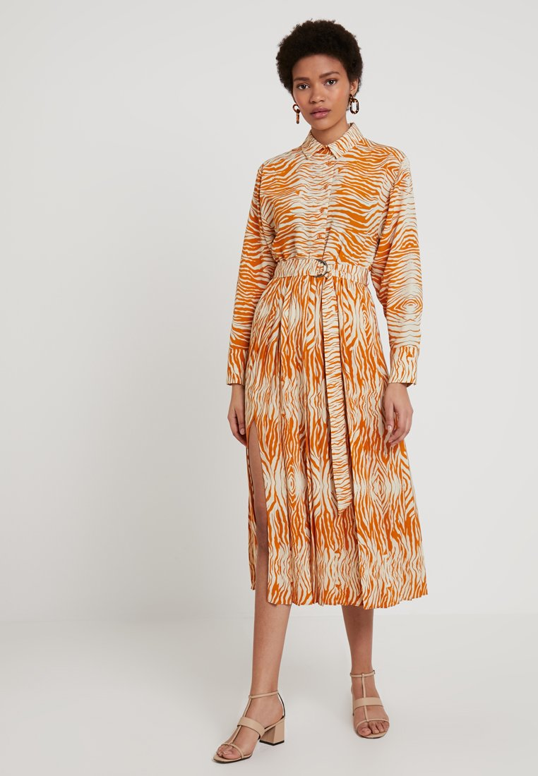 Topshop - ZEBRA PLEATED DRESS - Maxi dress - marigold