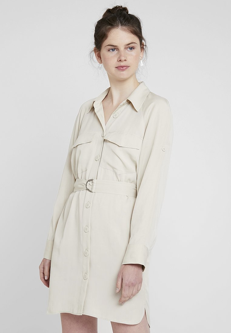 Topshop - UTILITY MINI DRESS - Košilové šaty - stone